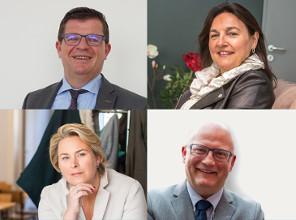 Bart Tommelein, Ministre de l'Energie de la Région flamande; Marie Christine Marghem, Ministre fédérale de l'Energie; Cécile Fremault, Ministre de l'Energie de la Région de Bruxelles-Capitale; Jean-Luc Crucke, Ministre de l'Energie de la Région wallonne
